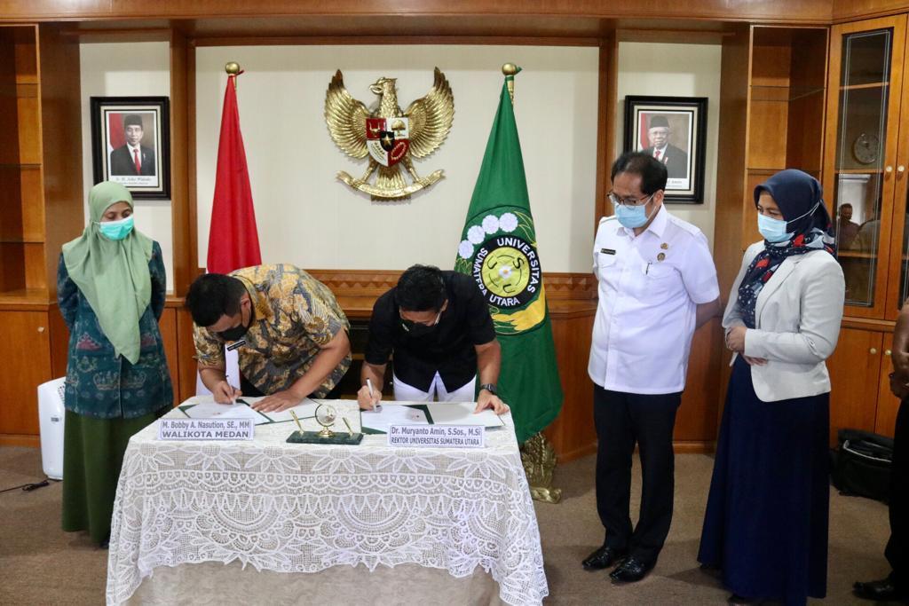 Wali Kota Medan dan Rektor USU Tandatangani Nota Kesepahaman