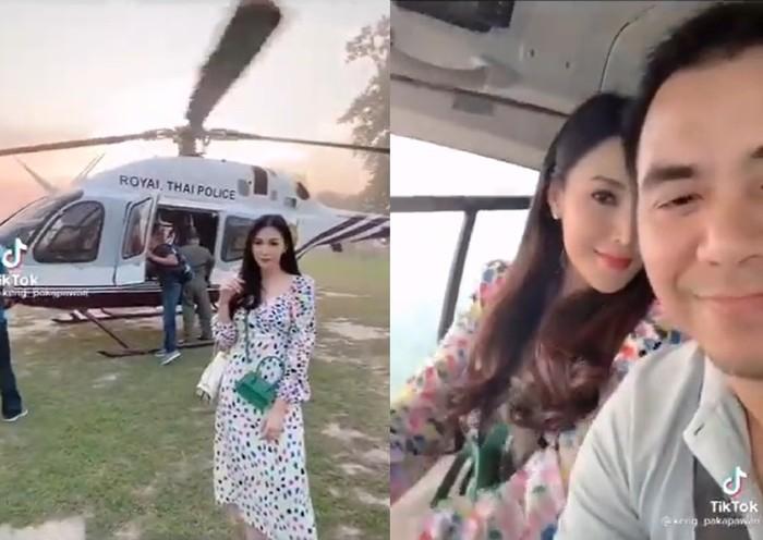 Polisi Ini Turun Pangkat Gegara Istrinya Pamer Helikopter di TikTok